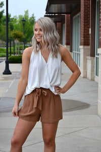 Button front, belted shorts