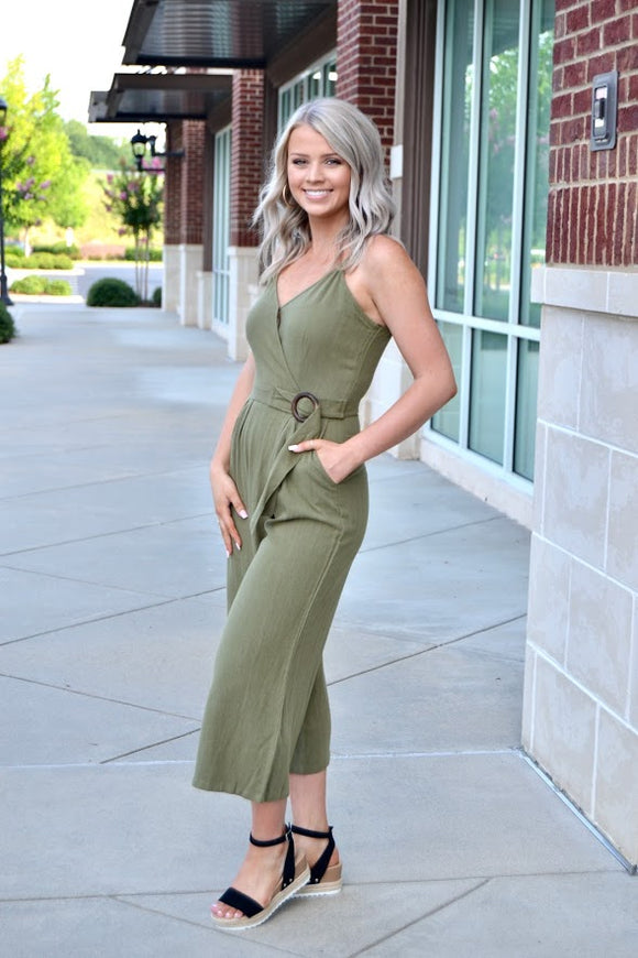 Olive surplice jumpsuit with buckle detail