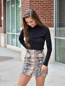 Taupe reptile print button front skirt