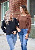 Two tone V neck knit top
