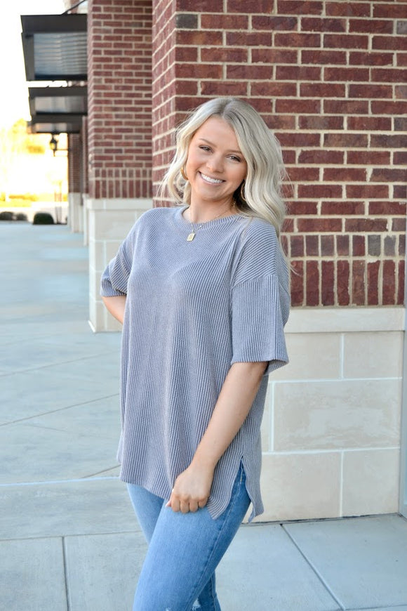 Ribbed SS oversized top