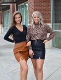 Faux leather crocodile print skirt
