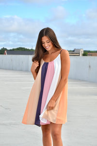 Rose & purple color block dress