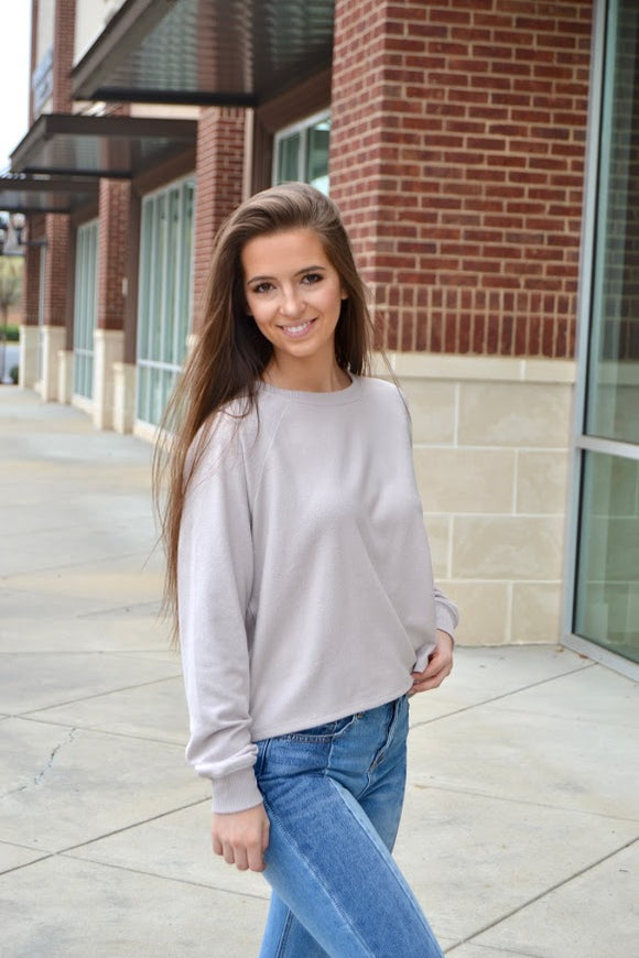 Moth grey raglan sleeve top
