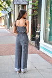 Black print jumpsuit with tie straps