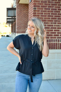 Black button down drawstring waist top