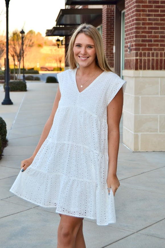 White eyelet tiered dress