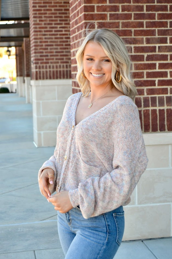 Pink marled cardigan sweater