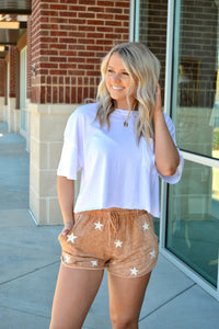 Washed star print shorts