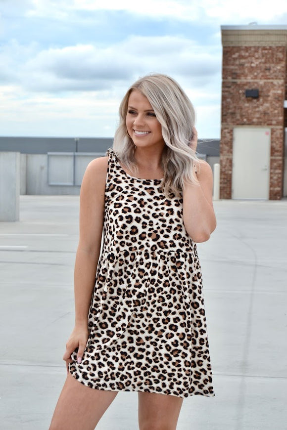 Leopard print tie strap dress
