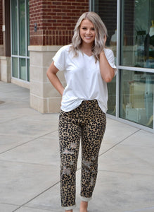 Leopard distressed boyfriend pants