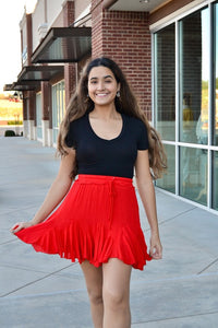 Red godet flare skirt