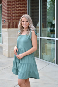 Sage tie strap tiered dress