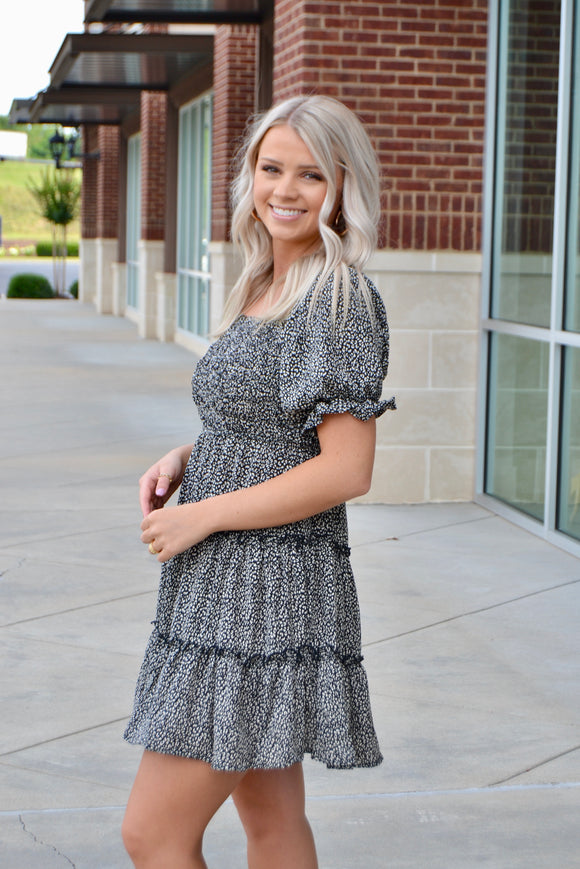 Green tiered button front dress