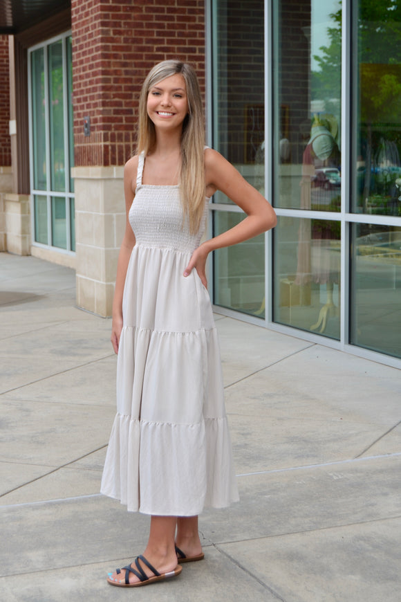 Smocking halter neck maxi dress
