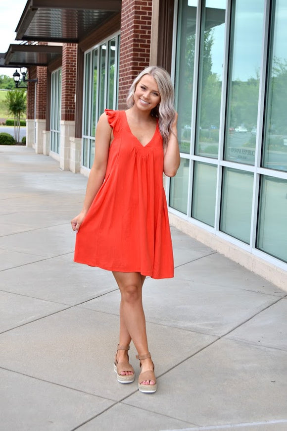 Tomato ruffle sleeve V neck dress