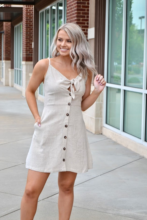Oatmeal tie front button down dress