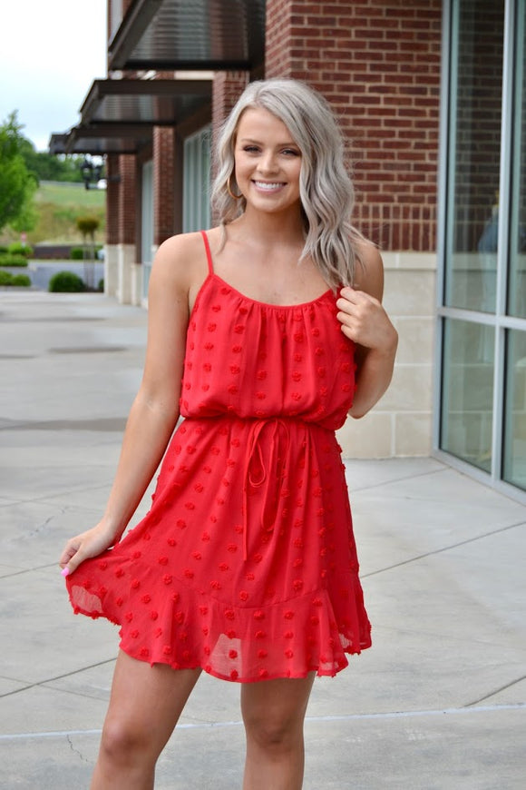 Red swiss dot sleeveless dress