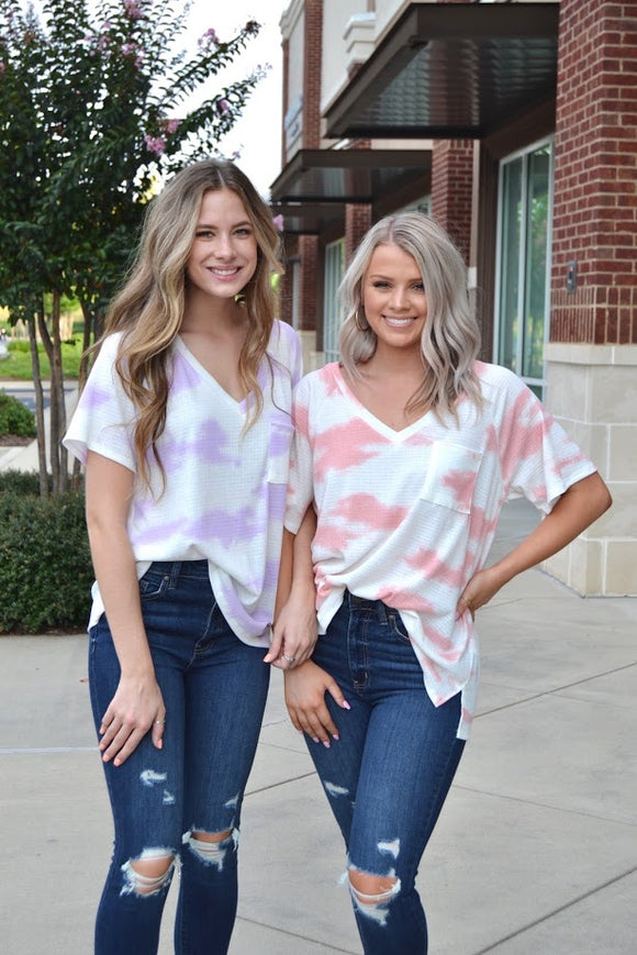 Tie dye V neck pocket tee