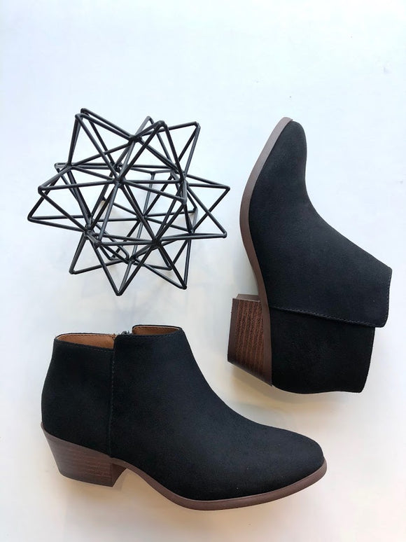 Black faux suede pull on bootie