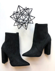 Pointed toe stretch suede bootie
