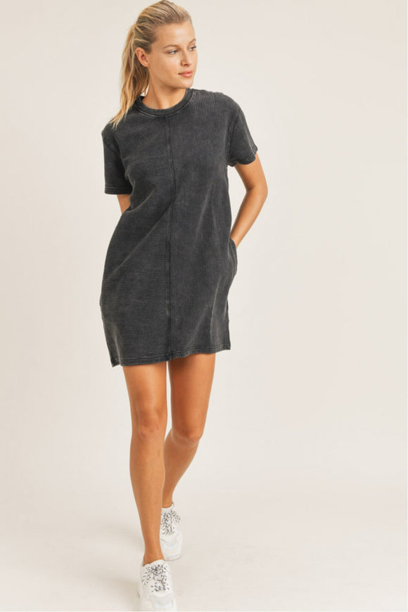 Mineral wash ribbed tennis dress