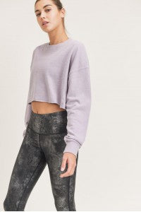 Nirvana LS cropped mineral wash pullover
