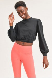 Bishop sleeve cropped pullover