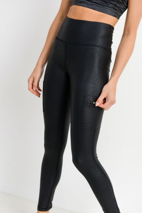 Side pocket foil leggings