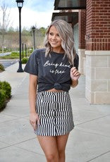 Black striped button down skirt