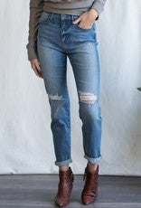Distressed high rise tomboy jeans