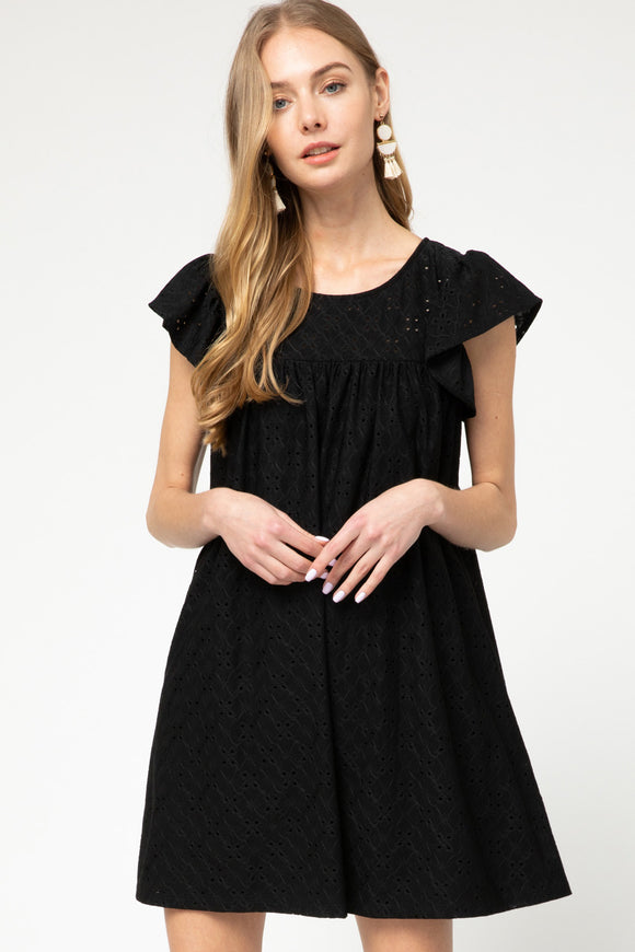 Black eyelet lace ruffle sleeve dress
