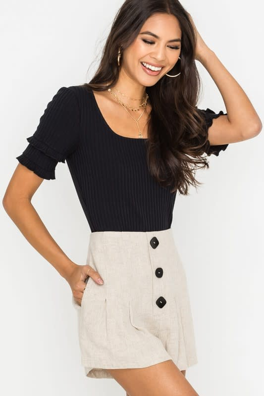 Linen faux button front shorts