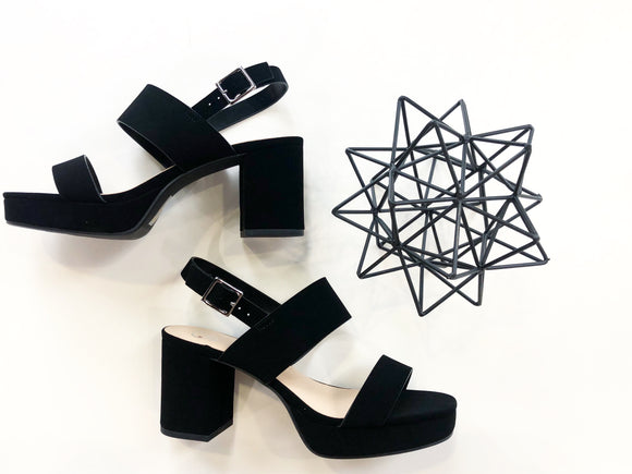 Black 2 band platform heel