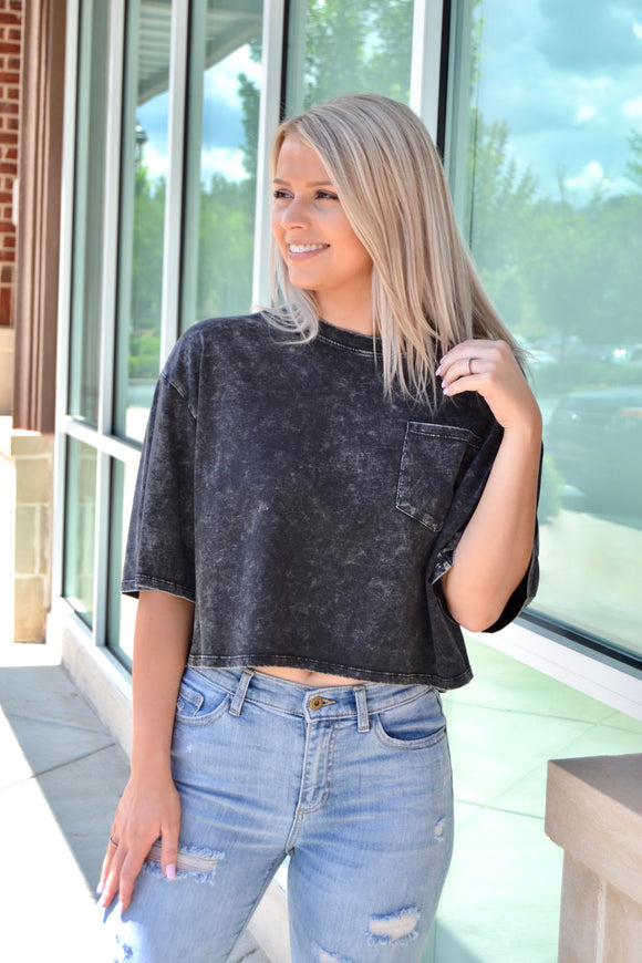 Black tie dye cropped top