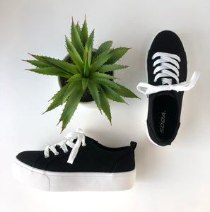 Black canvas platform sneakers