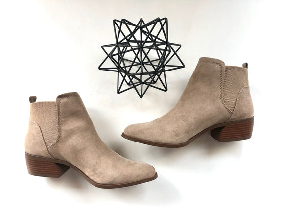 Taupe suede pull on bootie