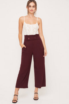 Plum high waist wide leg pants