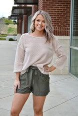 Olive elastic waist front tie shorts