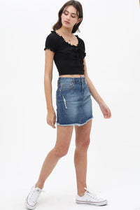 Lightly washed denim skirt