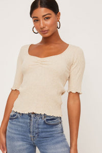 Oatmeal ss lettuce edge cinched top