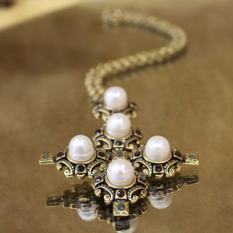 Italian Venetian Cross Necklace