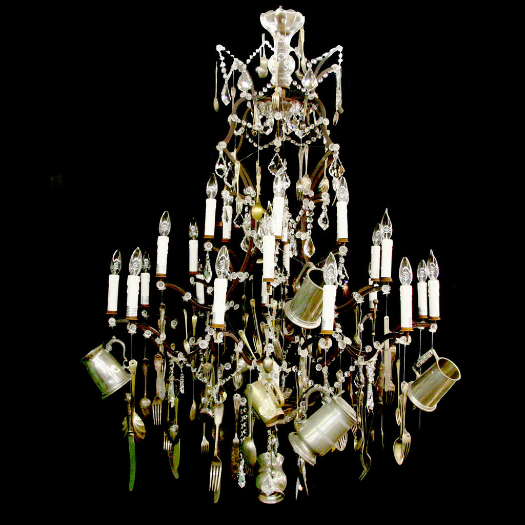 Lg. Chandelier with Vintage Silverware