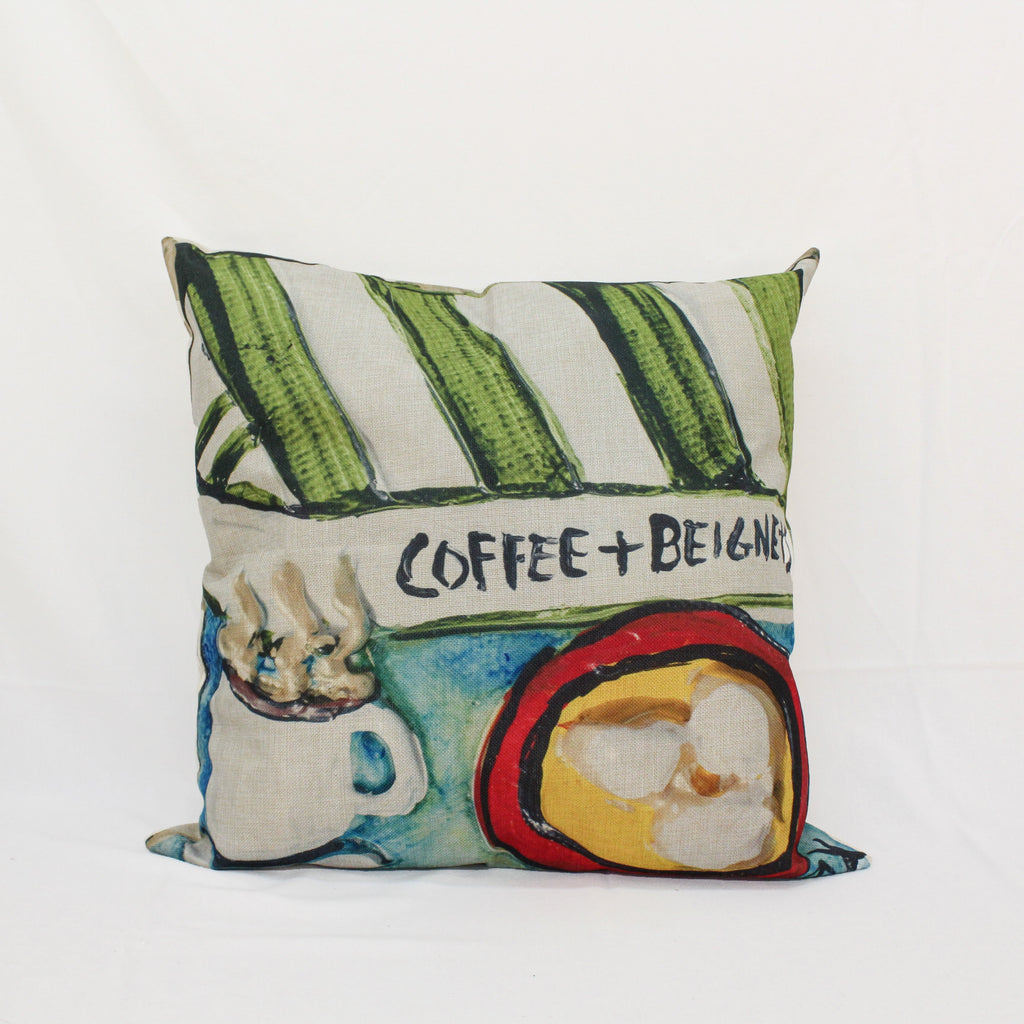 Coffee and Beignets Pillow
