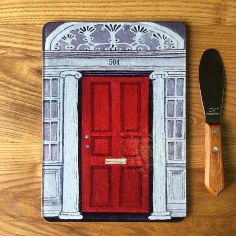 Red Door Glass Cutting Board