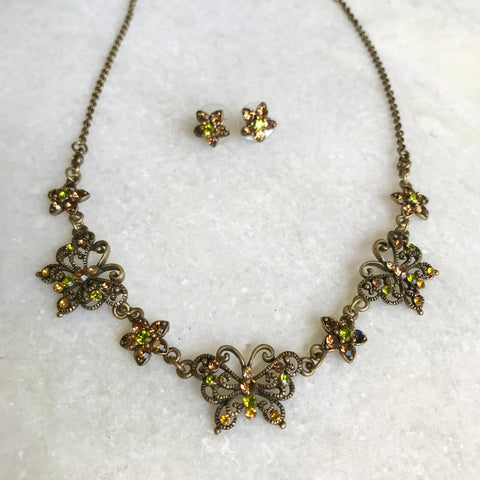 Crystal Butterfly Necklace Set
