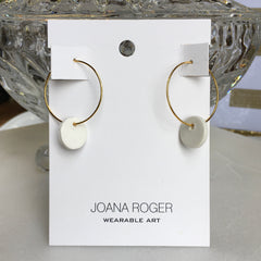 White Full Moon Earrings