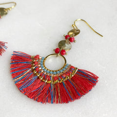 Red Beaded Fan Earrings