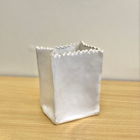 "Mini Ceramic ""Paper Bag"" Vase"