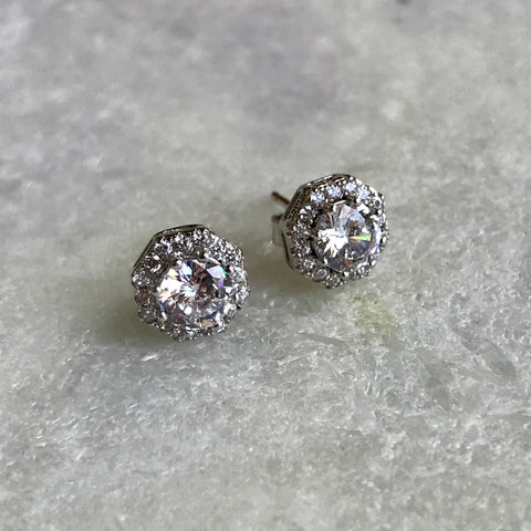 Sterling Halo Studs
